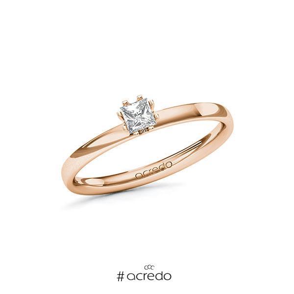 Verlobungsring in Rotgold 585 mit zus. 0,2 ct. Prinzess-Diamant tw, vs von acredo