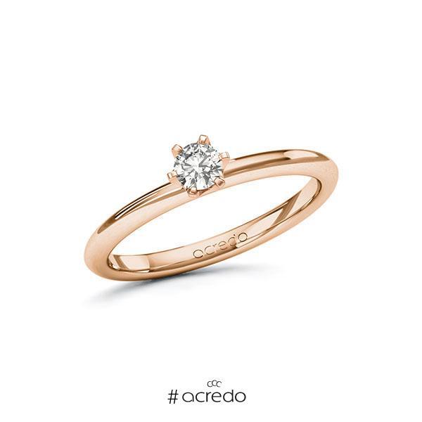 Verlobungsring in Rotgold 585 mit zus. 0,2 ct. tw, si von acredo