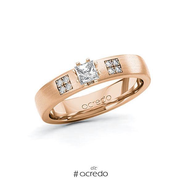 Verlobungsring in Rotgold 585 mit zus. 0,314 ct. Prinzess-Diamant tw, si von acredo