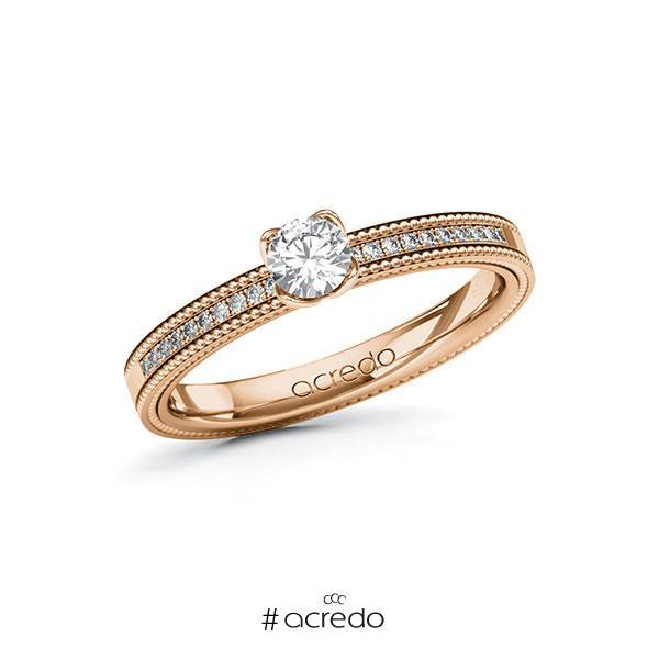Verlobungsring in Rotgold 585 mit zus. 0,35 ct. Brillant tw, si von acredo