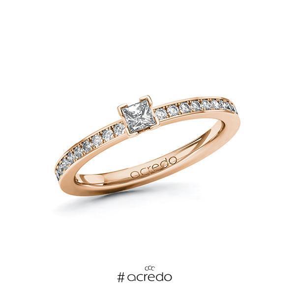 Verlobungsring in Rotgold 585 mit zus. 0,35 ct. Prinzess-Diamant tw, si von acredo