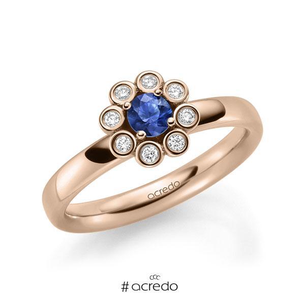 Verlobungsring in Rotgold 585 mit zus. 0,37 ct. Brillant Saphir Blau (A 10) tw, si von acredo