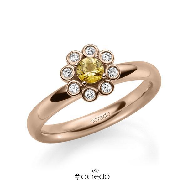 Verlobungsring in Rotgold 585 mit zus. 0,37 ct. Brillant Saphir Gelb (A 8) tw, si von acredo