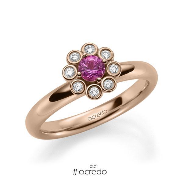 Verlobungsring in Rotgold 585 mit zus. 0,37 ct. Brillant Saphir Pink (A 10) tw, si von acredo