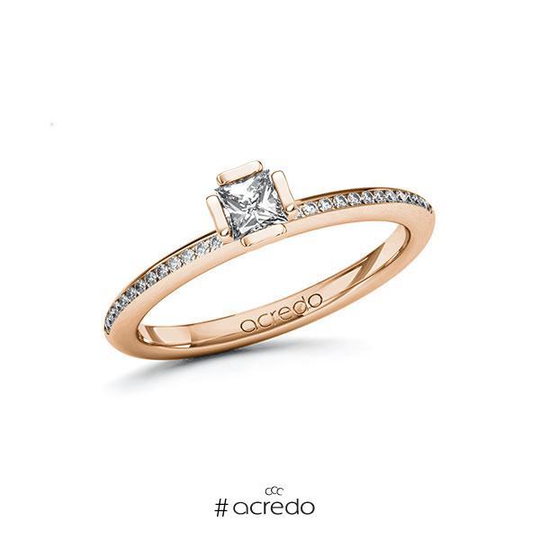 Verlobungsring in Rotgold 585 mit zus. 0,38 ct. Prinzess-Diamant tw, si von acredo