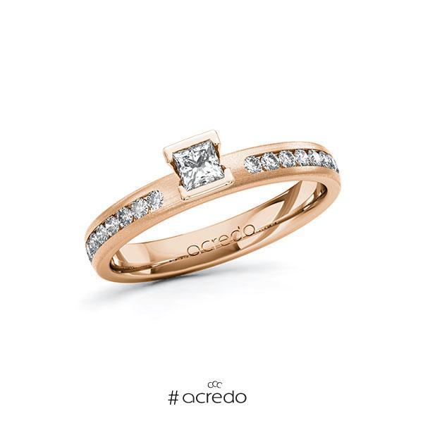 Verlobungsring in Rotgold 585 mit zus. 0,44 ct. Prinzess-Diamant tw, si von acredo