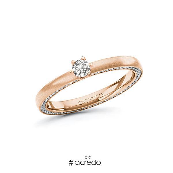 Verlobungsring in Rotgold 585 mit zus. 0,44 ct. tw, si von acredo