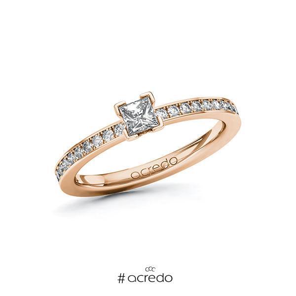 Verlobungsring in Rotgold 585 mit zus. 0,45 ct. Prinzess-Diamant tw, si von acredo