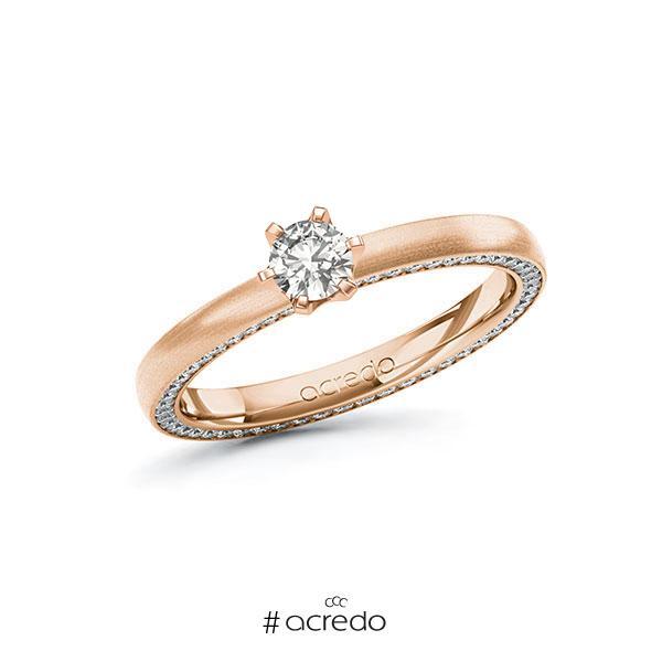 Verlobungsring in Rotgold 585 mit zus. 0,54 ct. tw, si von acredo