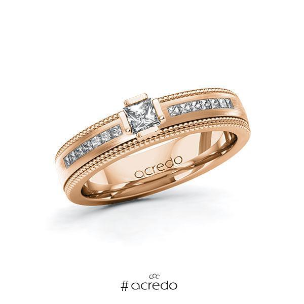 Verlobungsring in Rotgold 585 mit zus. 0,62 ct. Prinzess-Diamant tw, vs tw, si von acredo
