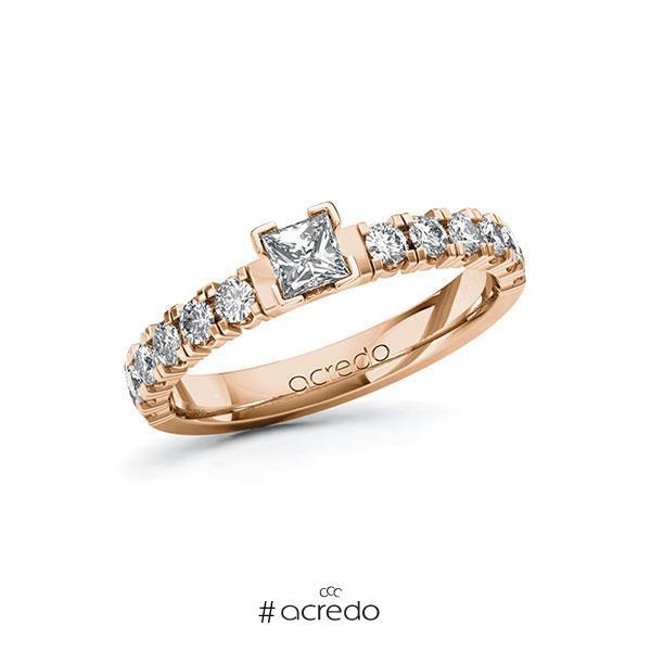 Verlobungsring in Rotgold 585 mit zus. 0,73 ct. Prinzess-Diamant tw, vs tw, si von acredo