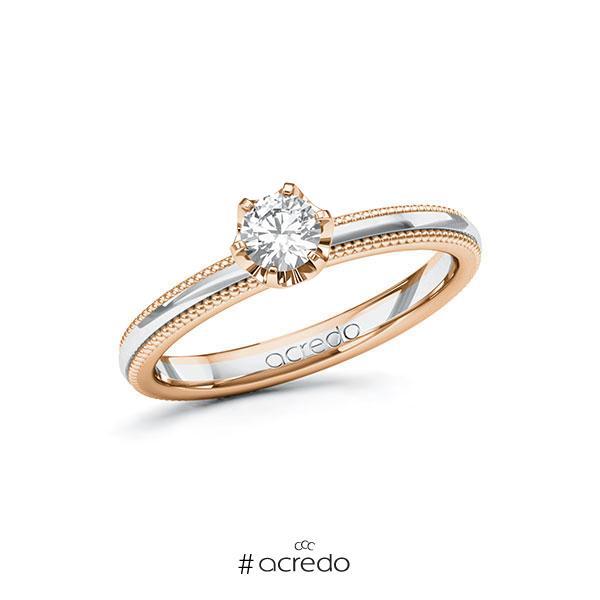 Verlobungsring in Rotgold 585 Weißgold 585 mit 0,3 ct. Brillant tw, si von acredo