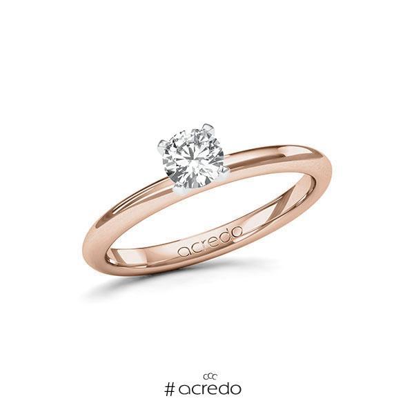 Verlobungsring in Rotgold 585 Weißgold 585 mit 0,4 ct. Brillant tw, si von acredo