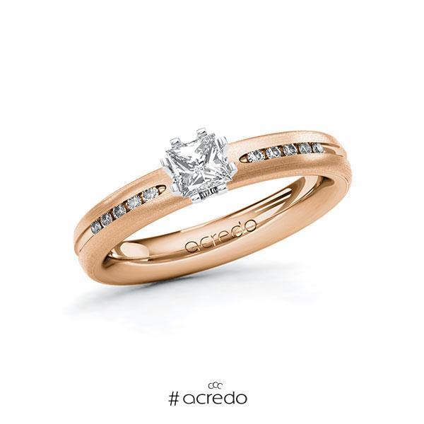 Verlobungsring in Rotgold 585 Weißgold 585 mit 0,4 ct. + zus. 0,08 ct. Prinzess-Diamant tw, vs tw, si von acredo