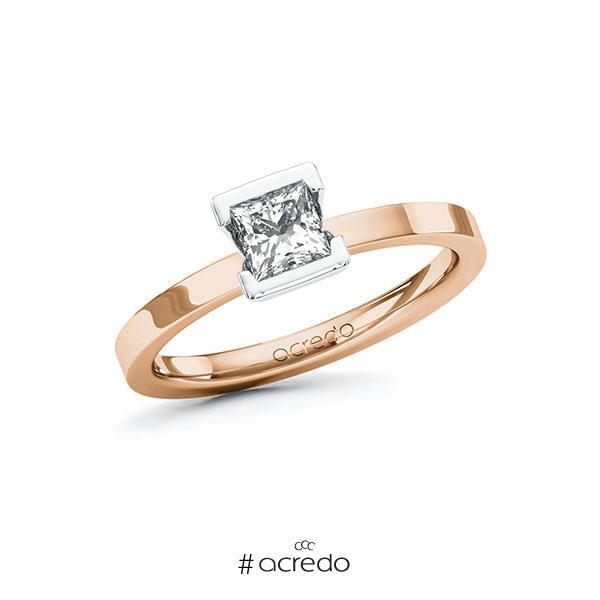 Verlobungsring in Rotgold 585 Weißgold 585 mit 0,5 ct. Prinzess-Diamant tw, vs von acredo