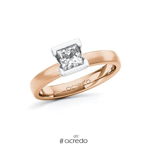 Verlobungsring in Rotgold 585 Weißgold 585 mit 0,7 ct. Prinzess-Diamant tw, vs von acredo