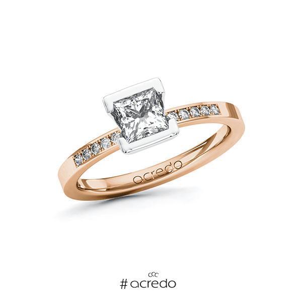 Verlobungsring in Rotgold 585 Weißgold 585 mit 0,7 ct. + zus. 0,08 ct. Prinzess-Diamant tw, vs tw, si von acredo