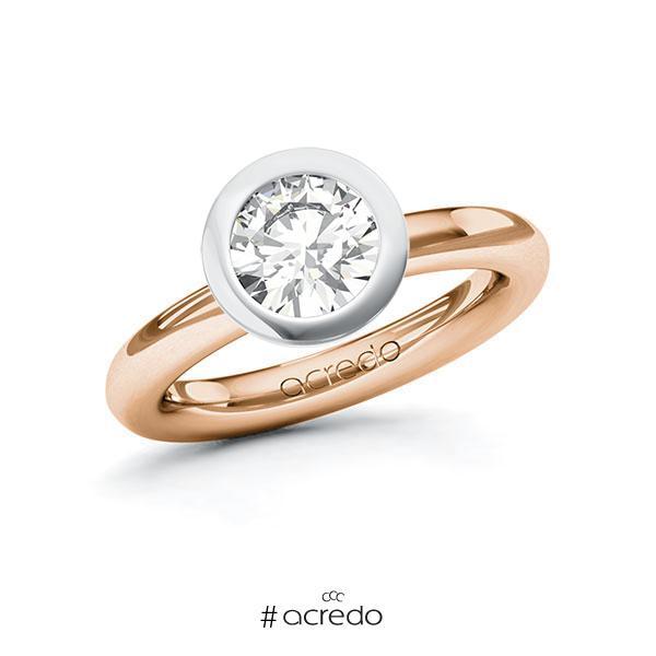 Verlobungsring in Rotgold 585 Weißgold 585 mit 1,5 ct. Brillant tw, vs von acredo
