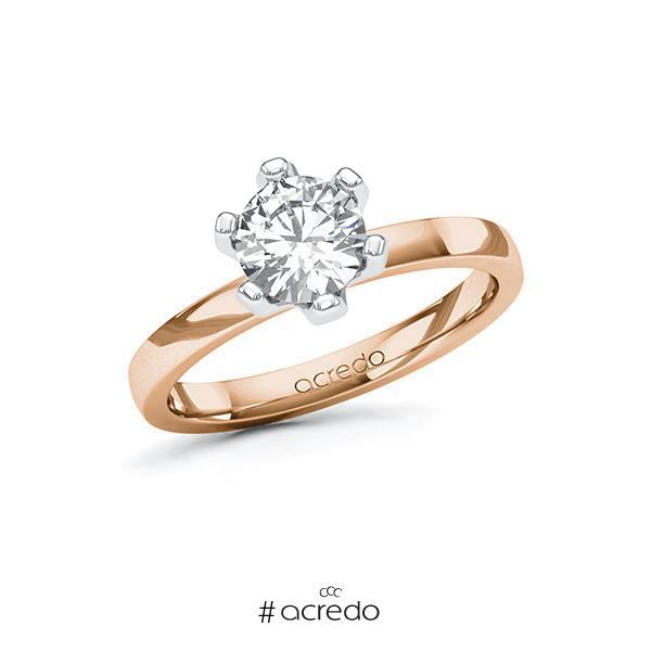 Verlobungsring in Rotgold 585 Weißgold 585 mit 1 ct. Brillant tw, si von acredo