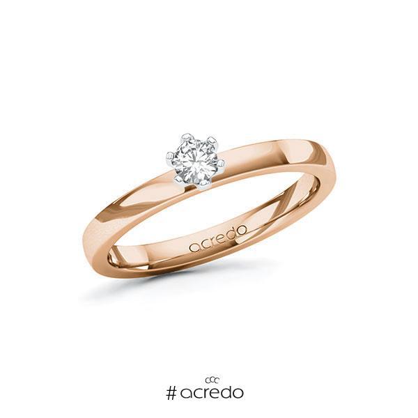 Verlobungsring in Rotgold 585 Weißgold 585 mit zus. 0,15 ct. Brillant tw, si von acredo