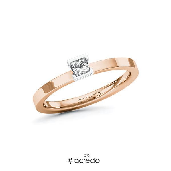 Verlobungsring in Rotgold 585 Weißgold 585 mit zus. 0,15 ct. Prinzess-Diamant tw, si von acredo