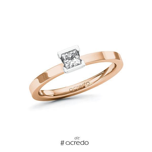 Verlobungsring in Rotgold 585 Weißgold 585 mit zus. 0,25 ct. Prinzess-Diamant tw, si von acredo