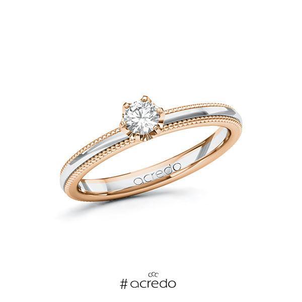 Verlobungsring in Rotgold 585 Weißgold 585 mit zus. 0,2 ct. Brillant tw, si von acredo