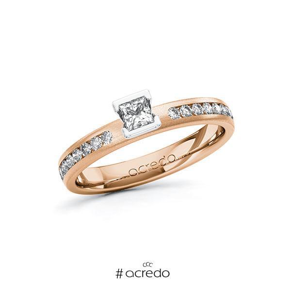 Verlobungsring in Rotgold 585 Weißgold 585 mit zus. 0,44 ct. Prinzess-Diamant tw, si von acredo