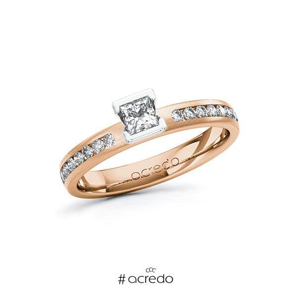 Verlobungsring in Rotgold 585 Weißgold 585 mit zus. 0,49 ct. Prinzess-Diamant tw, si von acredo