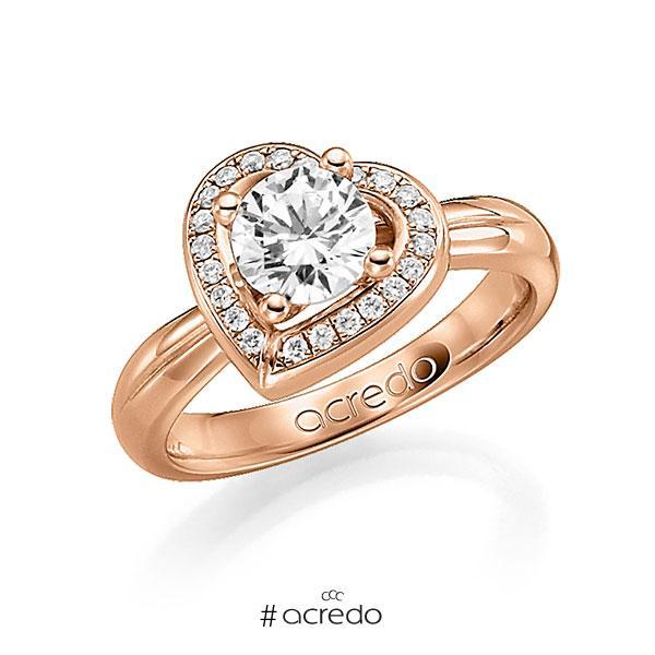 Verlobungsring in Rotgold 750 mit 0,4 ct. 22 St. zusammen 0,11ct. Brillant tw, si von acredo