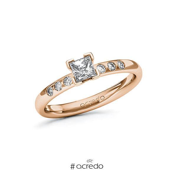 Verlobungsring in Rotgold 750 mit 0,4 ct. + zus. 0,12 ct. Prinzess-Diamant tw, vs tw, si von acredo