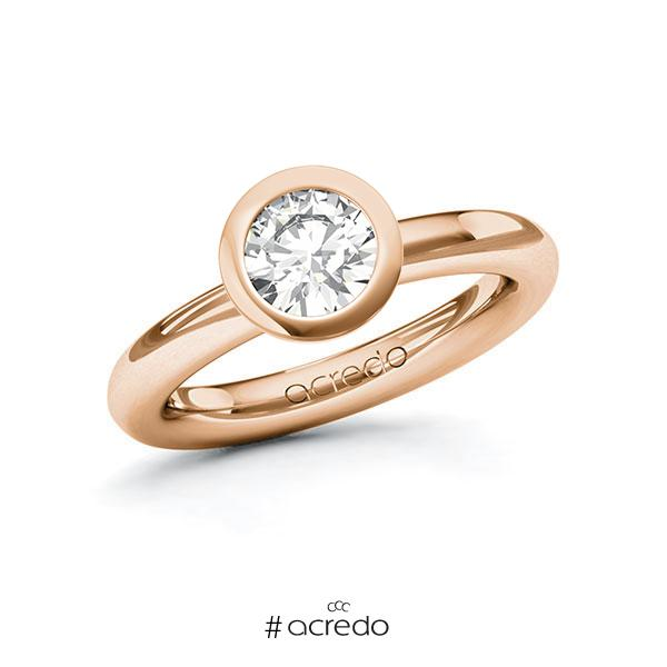 Verlobungsring in Rotgold 750 mit 1 ct. Brillant tw, vs von acredo