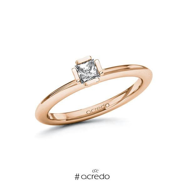 Verlobungsring in Rotgold 750 mit zus. 0,25 ct. Prinzess-Diamant tw, si von acredo