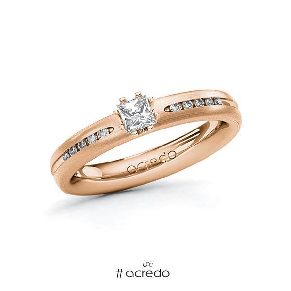 Verlobungsring in Rotgold 750 mit zus. 0,33 ct. Prinzess-Diamant tw, si von acredo