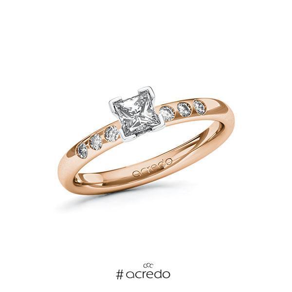 Verlobungsring in Rotgold 750 Weißgold 750 mit 0,4 ct. + zus. 0,12 ct. Prinzess-Diamant tw, vs tw, si von acredo