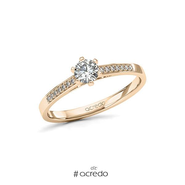 Verlobungsring in Signature Gold 585 mit 0,3 ct. + zus. 0,07 ct. Brillant tw, si von acredo