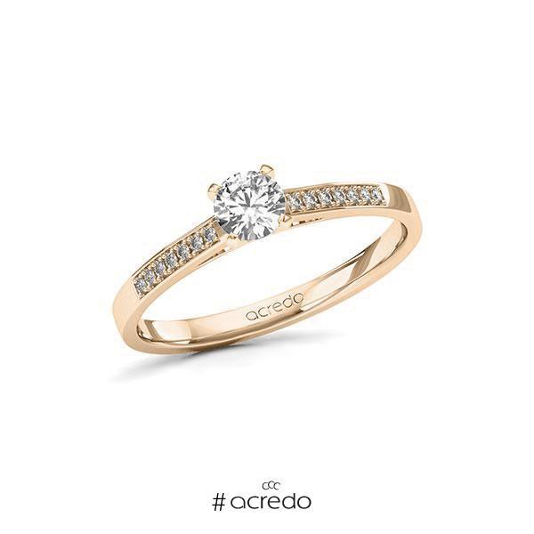 Verlobungsring in Signature Gold 585 mit 0,3 ct. + zus. 0,07 ct. Brillant tw, si von acredo