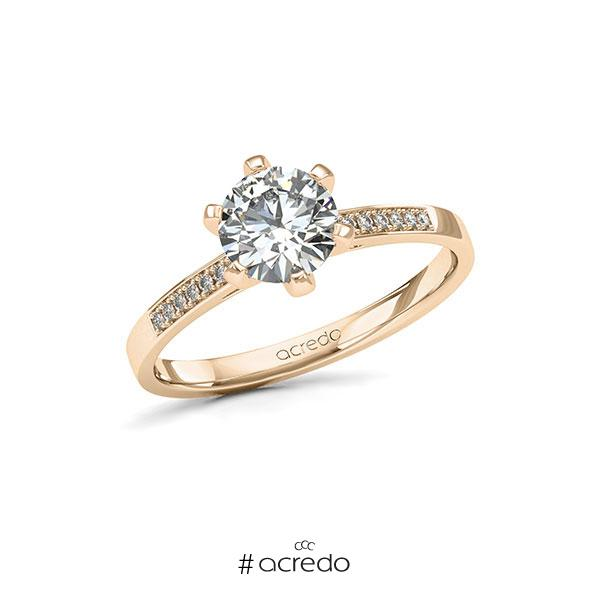 Verlobungsring in Signature Gold 585 mit 1 ct. + zus. 0,07 ct. Brillant tw, si von acredo