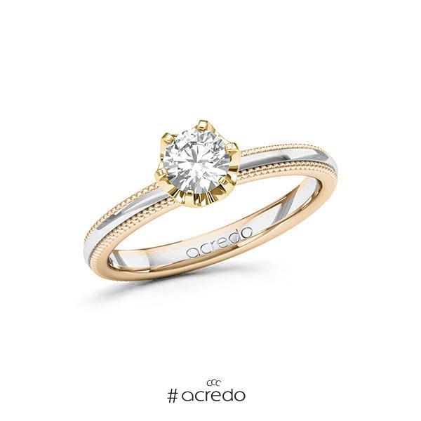 Verlobungsring in Signature Gold 585 Weißgold 585 Gelbgold 585 mit 0,5 ct. Brillant tw, si von acredo
