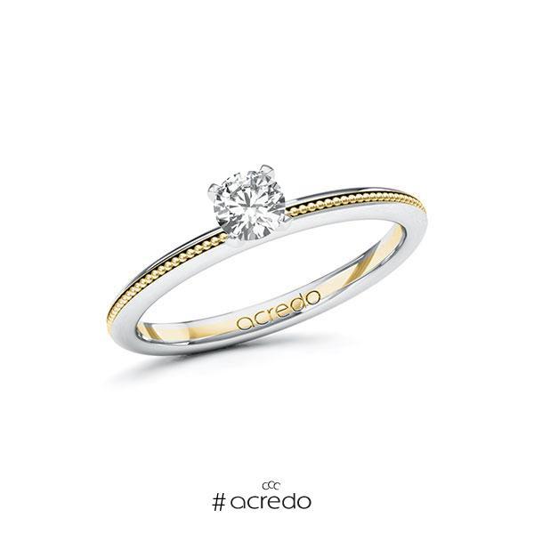 Verlobungsring in Weißgold 585 Gelbgold 585 mit 0,3 ct. Brillant tw, si von acredo
