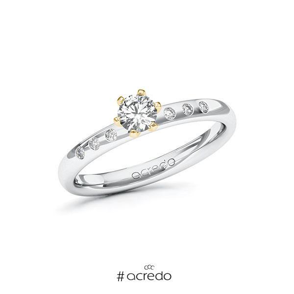 Verlobungsring in Weißgold 585 Gelbgold 585 mit 0,3 ct. + zus. 0,048 ct. Brillant tw, vs tw, si von acredo