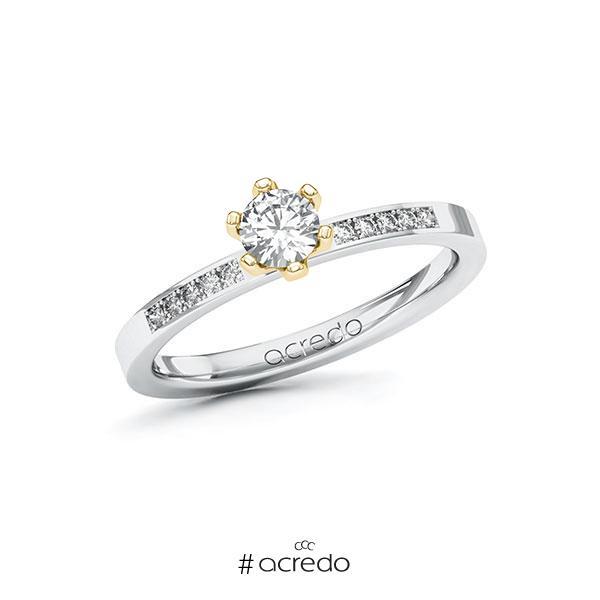 Verlobungsring in Weißgold 585 Gelbgold 585 mit 0,3 ct. + zus. 0,08 ct. Brillant tw, si von acredo