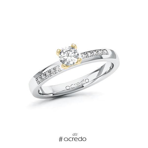 Verlobungsring in Weißgold 585 Gelbgold 585 mit 0,3 ct. + zus. 0,1 ct. Brillant tw, si von acredo