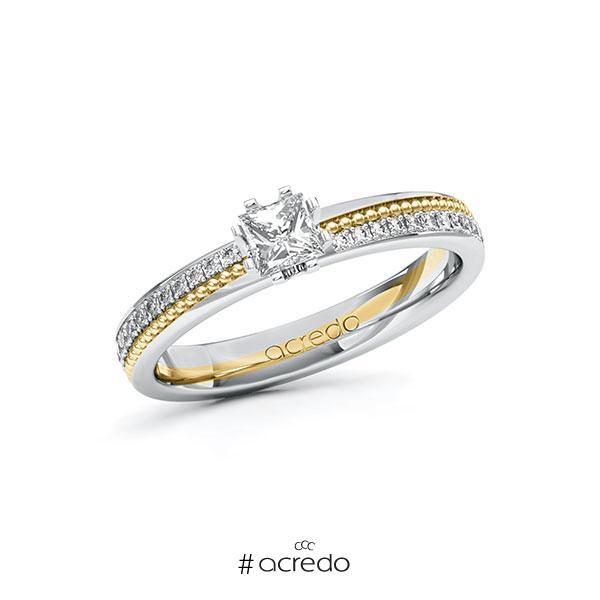 Verlobungsring in Weißgold 585 Gelbgold 585 mit 0,3 ct. + zus. 0,296 ct. Prinzess-Diamant tw, vs tw, si von acredo