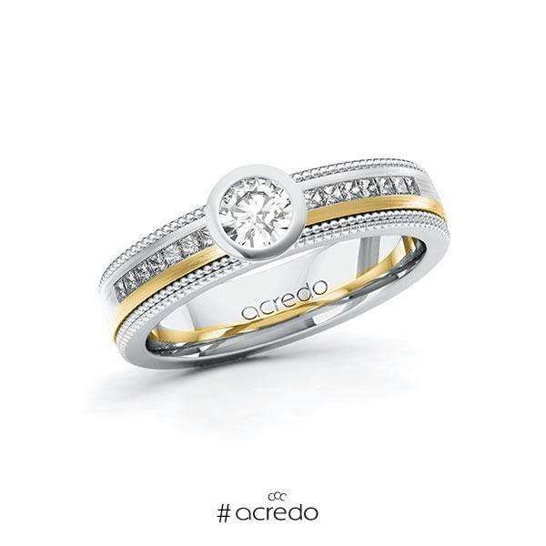 Verlobungsring in Weißgold 585 Gelbgold 585 mit 0,3 ct. + zus. 0,42 ct. Brillant tw, vs tw, si von acredo