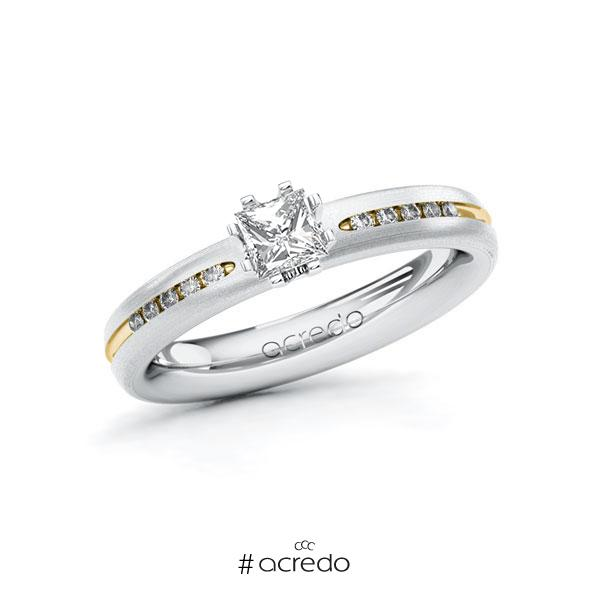 Verlobungsring in Weißgold 585 Gelbgold 585 mit 0,4 ct. + zus. 0,08 ct. Prinzess-Diamant tw, vs tw, si von acredo