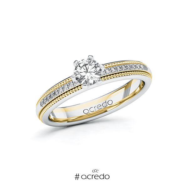 Verlobungsring in Weißgold 585 Gelbgold 585 mit 0,4 ct. + zus. 0,09 ct. Brillant tw, si von acredo