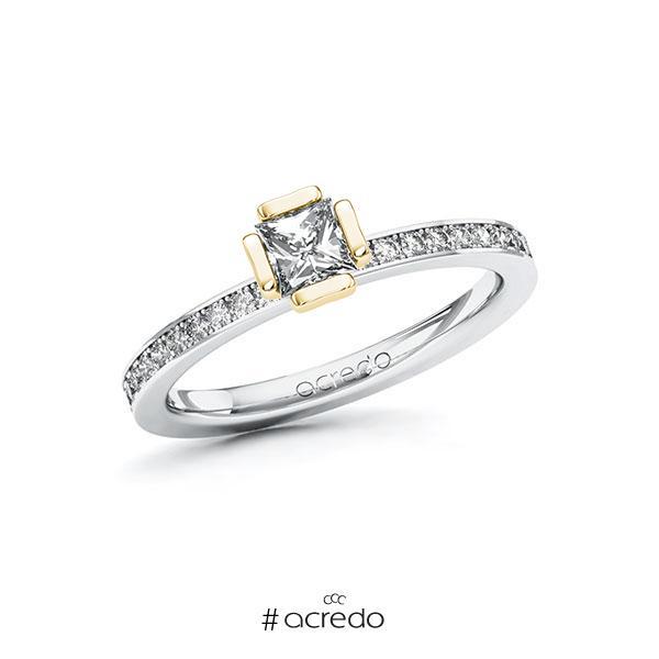 Verlobungsring in Weißgold 585 Gelbgold 585 mit 0,4 ct. + zus. 0,2 ct. Prinzess-Diamant tw, vs tw, si von acredo