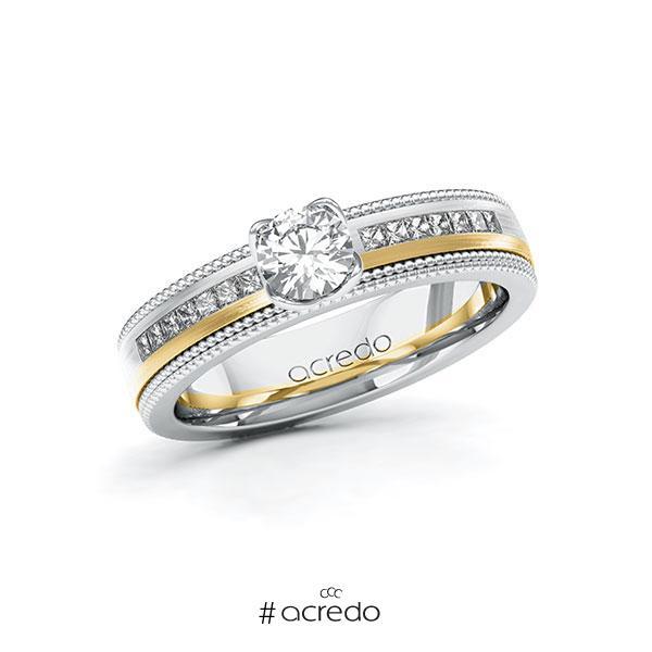 Verlobungsring in Weißgold 585 Gelbgold 585 mit 0,4 ct. + zus. 0,42 ct. Brillant tw, vs tw, si von acredo