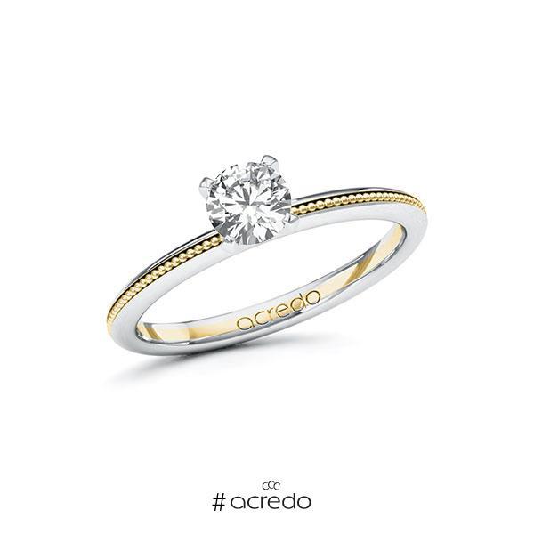 Verlobungsring in Weißgold 585 Gelbgold 585 mit 0,5 ct. Brillant tw, si von acredo